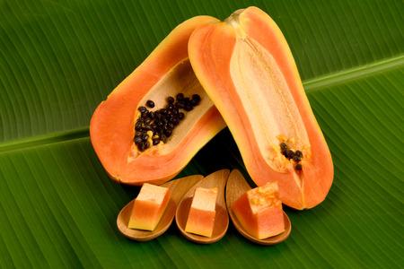 Papaya, Pawpaw, Tree melon (Carica papaya L.) Papaya dessert on plate, Fruits for Healthy Eating. Фото со стока