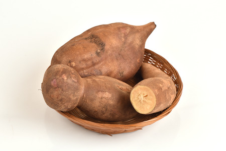 yacon: Smallanthus sonchifolius, Fresh Yacon roots. Stock Photo