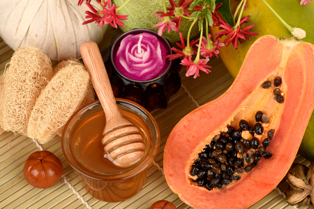 Face mask for acne treatment with Papaya and honey treatment. Stock Photo