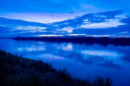 the river: Mekong River at sunset, Chiang Khan, Loei, Thailand.
