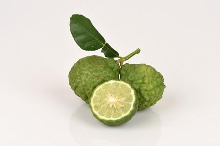 leech: Kaffir lime, Leech lime, Mauritius papeda, fruits and herbs of Thailand. Stock Photo