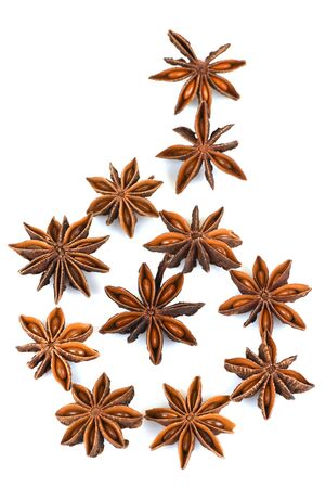 Chinese star anise, Star anise, fruits have medicinal properties and on a white background. Reklamní fotografie