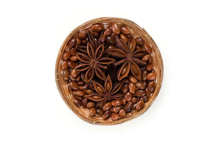 Chinese star anise fruits isolated on a white background.