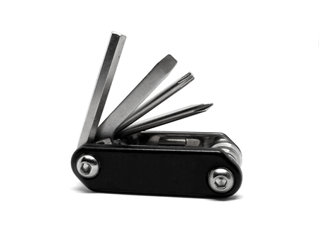 mini bike: bicycle repair tools isolated on a white background