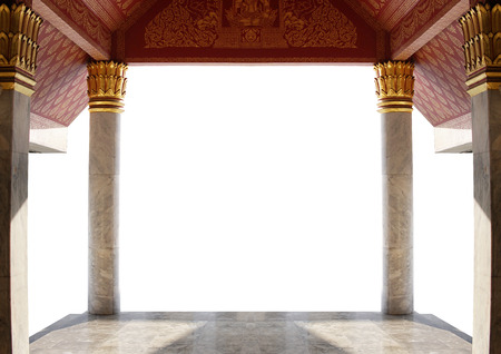 entrance of thai temple isolated on white background with clipping path Stock Photo