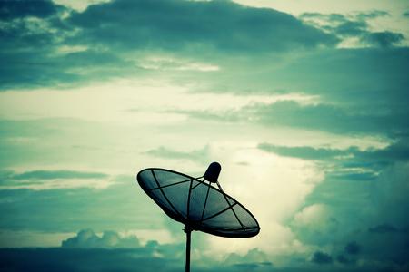 Silhouette Satellite dish. Communication technology network concept.