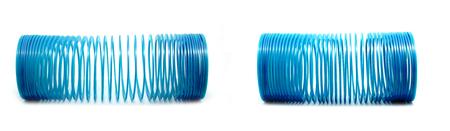 Blue slinky toy Isolated On White Background