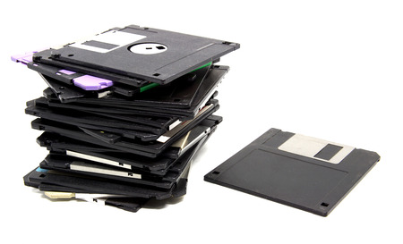 old floppy disc isolated on white background