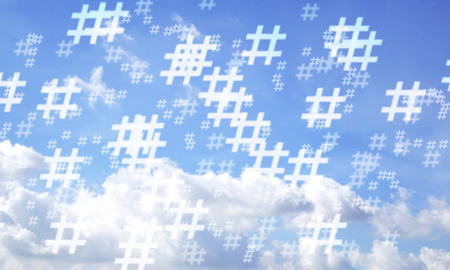 Blue sky and hashtag random pattern background. Illustration.