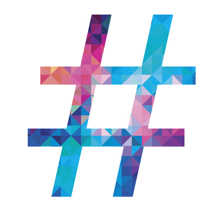 colorful hashtag icon isolated on white background. Illustration.