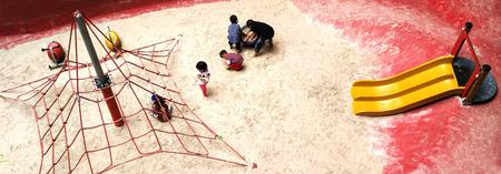 Bangkok, Thailand - JULY 20, 2017 : Children playground on sand yard  in central park.