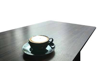 coffee latte on wooden table.Isolated on white background with clipping path.