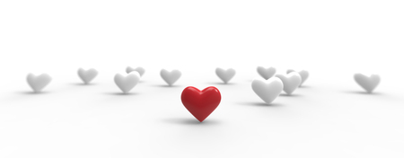 Group of Valentine Hearts on white background. 3D rendering.