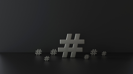 Silver hashtag icon on dark background.3D Illustration. Stock Photo