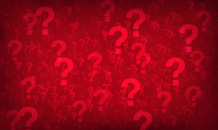 Red question mark random pattern background. Illustration. Stock Photo