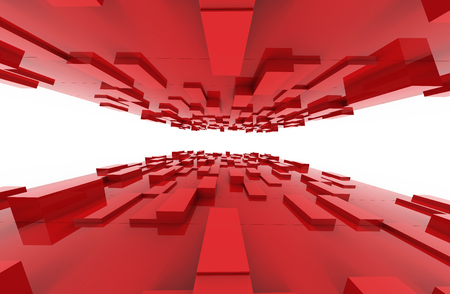 Red cubes abstract background pattern. 3d illustration. Stock Photo
