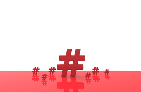 Group of Hashtag icon isolated on white background.3D Illustration.