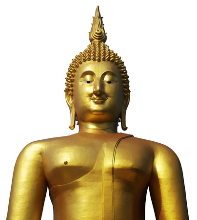 Buddha statue in pubic temple of thailand. Isolated on white background with clipping path. Stock Photo
