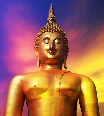 Buddha statue in pubic temple of thailand. Isolated on colorful sky background with clipping path.