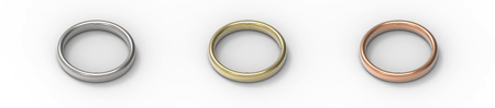 Silver, Gold, Copper rings isolated on white background. 3D rendering. Stock Photo