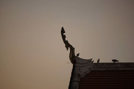 Silhouette of gable in thai temple in morning sky background.