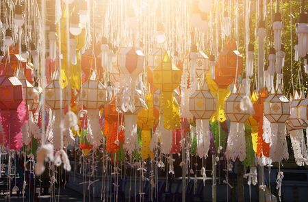 Group of paper latern in thai temple.