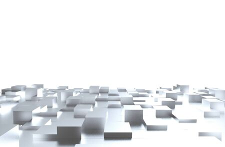 Gray cubes abstract background pattern. 3d illustration.
