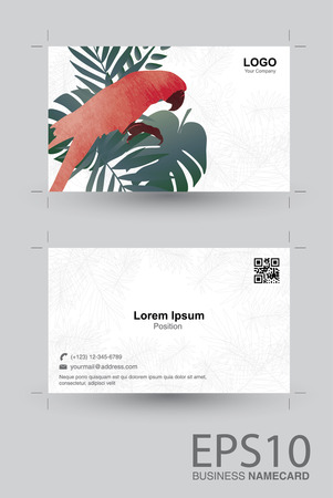 Macaw bird and tropical green leaf namecard pattern background.  イラスト・ベクター素材