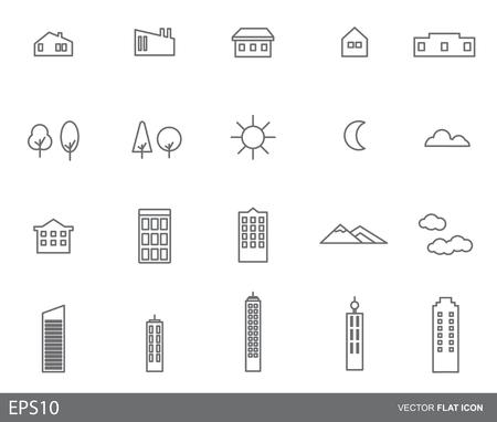 Cityscape. Landscape icon flat design concept.