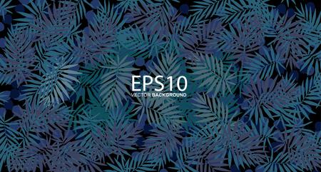 Tropical blue leaf pattern background.