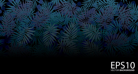 Tropical blue leaf pattern background.