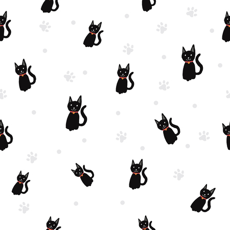 Black cat / Paw print seamless pattern background. Zdjęcie Seryjne - 124860875