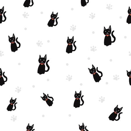 Black cat  Paw print seamless pattern background.
