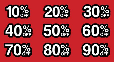 Sale tag number for discount promotion. illustration. Ilustracja