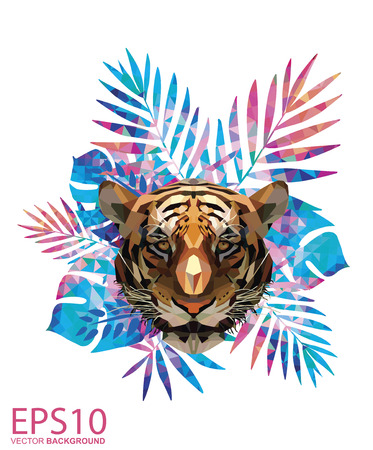 Low polygon tiger head and Colorful tropical leaf pattern background. Illustration EPS 10. Foto de archivo - 119617491