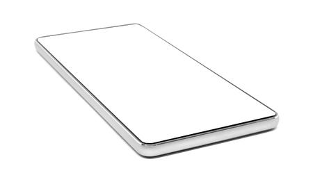 Pusty ekran Telefon komórkowy na białym tle ze ścieżką przycinającą.