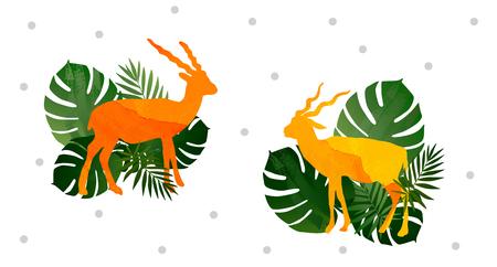 The Colorful Watercolor Blackbuck deer pattern background. Foto de archivo - 121796870
