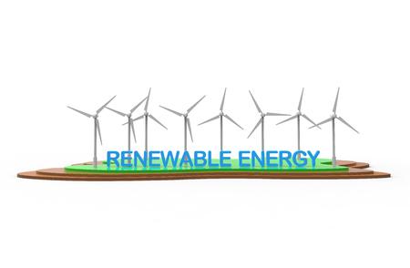 ECO turbine. Renewable energy isolated on white background. 3D illustration