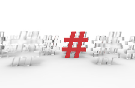 Group of glass hashtag icon isolated on white background. 3D Illustration.