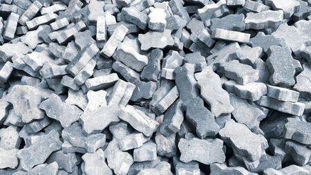 Group of gray bricks square in the construction site. Zdjęcie Seryjne - 128015043