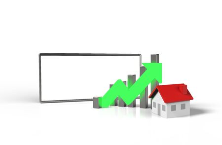Growth real estate concept. Business graph with house  and blank screen mobile phone. 3D Illustration.