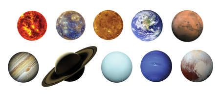 Solar system isolated on white background with clipping path. 스톡 콘텐츠