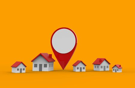 Location icon and house isolated on orange background. 3D Illustration.