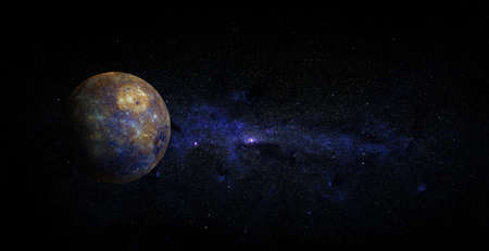 Mercury on space background. Foto de archivo