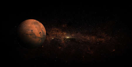 Mars on space background. 版權商用圖片