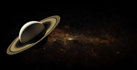 Saturn on space background.