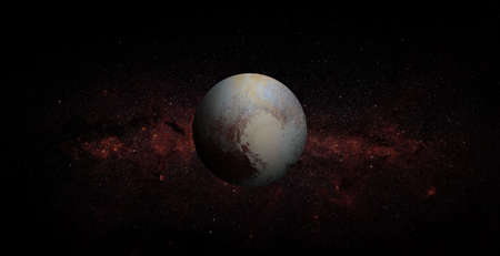 Pluto on space background.