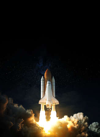Space Shuttle takes off into space. Elements of this image.