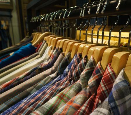 shirt hanger: row of hanger with shirt