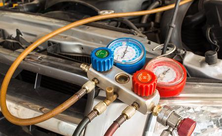 conditioning: close up monitoring tools car air of car garage